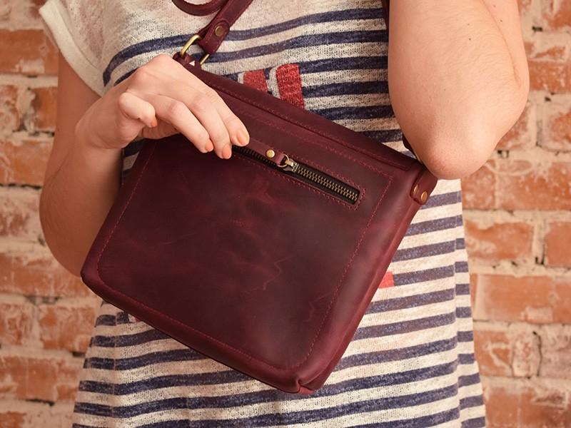 Сумка Baika Marsala - Кожаные сумки через плечо, изделия из кожи в Киеве